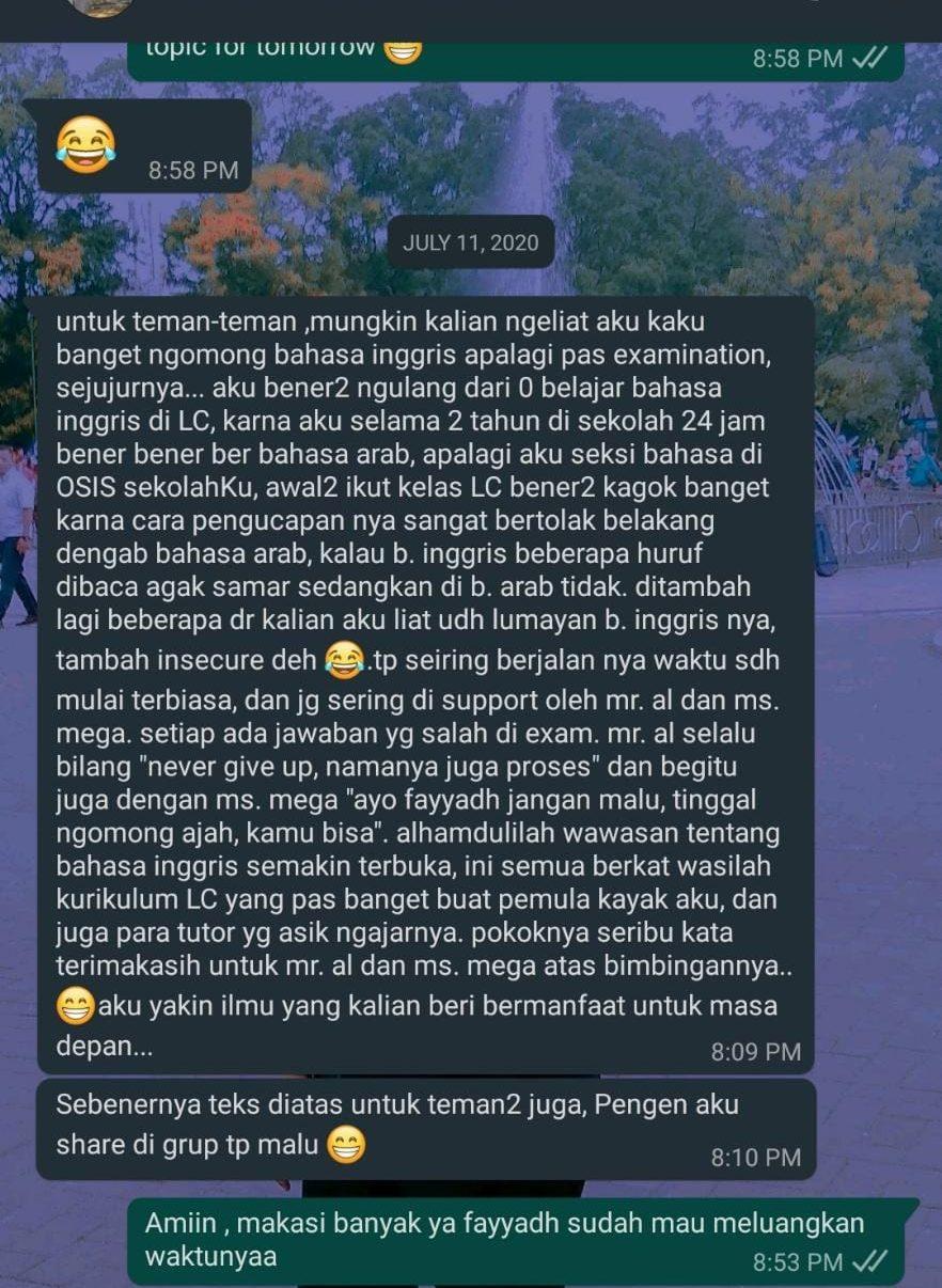 WhatsApp Testimony Kampung Inggris Lc Online